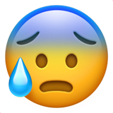 Face With Open Mouth And Cold Sweat ios emoji