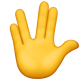 Raised Hand With Part Between Middle And Ring Fingers ios emoji