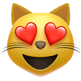 Smiling Cat Face With Heart-shaped Eyes ios emoji