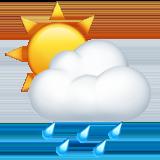 White Sun Behind Cloud With Rain ios emoji