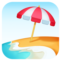 Beach With Umbrella facebook emoji
