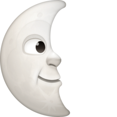 Last Quarter Moon With Face facebook emoji