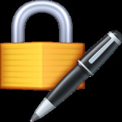 Lock With Ink Pen facebook emoji