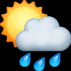 White Sun Behind Cloud With Rain facebook emoji