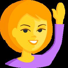 Happy Person Raising One Hand facebook messenger emoji