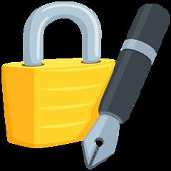 Lock With Ink Pen facebook messenger emoji
