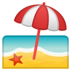 Beach With Umbrella google emoji