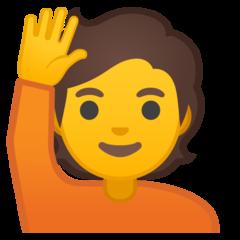 Happy Person Raising One Hand google emoji