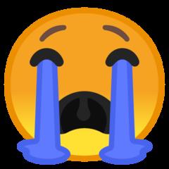 Loudly Crying Face google emoji