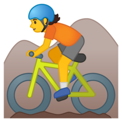 Mountain Bicyclist google emoji
