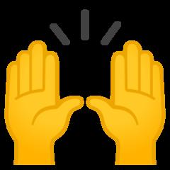 Person Raising Both Hands In Celebration google emoji