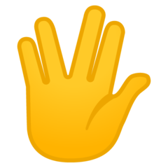 Raised Hand With Part Between Middle And Ring Fingers google emoji