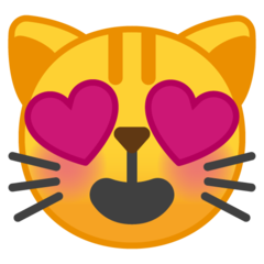 Smiling Cat Face With Heart-shaped Eyes google emoji