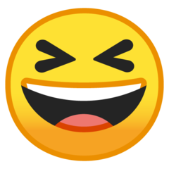 Smiling Face With Open Mouth And Tightly-closed Eyes google emoji