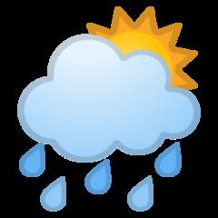 White Sun Behind Cloud With Rain google emoji