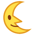 Last Quarter Moon With Face htc emoji