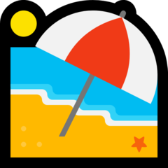 Beach With Umbrella microsoft emoji