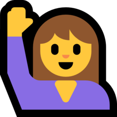 Happy Person Raising One Hand microsoft emoji