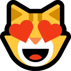 Smiling Cat Face With Heart-shaped Eyes microsoft emoji