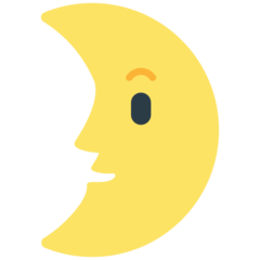 First Quarter Moon With Face mozilla emoji