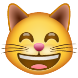 Grinning Cat Face With Smiling Eyes whatsapp emoji