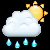 White Sun Behind Cloud With Rain whatsapp emoji